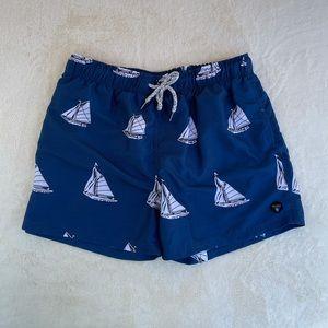 Molokai Surf Co Swim Short Trunks Sailboat Blue XL